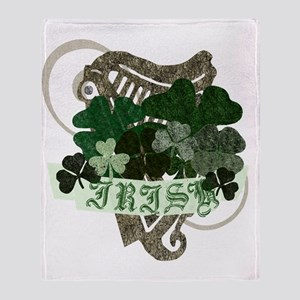 irish-clovers-base Throw Blanket
