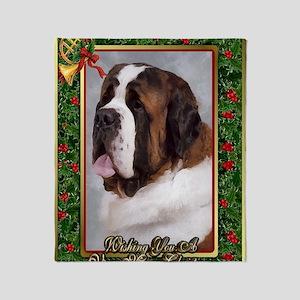 Saint Bernard Dog Christmas Throw Blanket