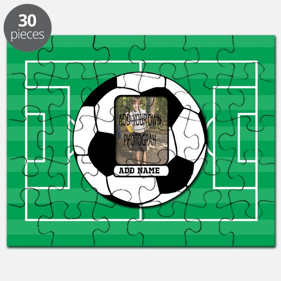 Photo and Name personalized soccer ball Puzzle