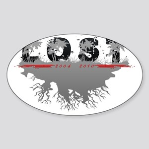 Lost TV palm trees scene GreyBlack Sticker (Oval)