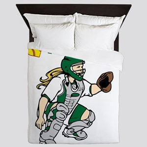 green, I love my catcher Queen Duvet