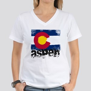 Aspen Grunge Flag Women's V-Neck T-Shirt