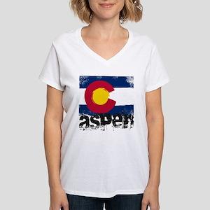 Aspen Grunge Flag Women's V-Neck T-Shirt