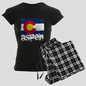 Aspen Grunge Flag Women's Dark Pajamas