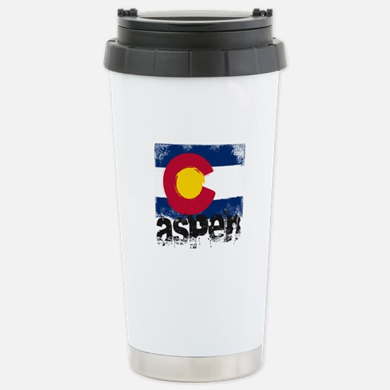 Aspen Grunge Flag Stainless Steel Travel Mug