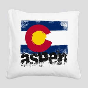 Aspen Grunge Flag Square Canvas Pillow