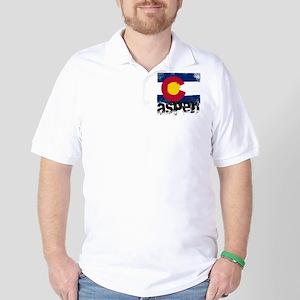 Aspen Grunge Flag Golf Shirt