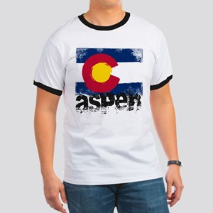 Aspen Grunge Flag Ringer T