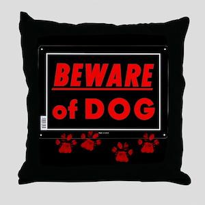 Beware of Dog full Throw Pillow
