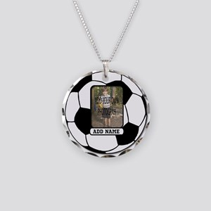 Photo and Name personalized soccer ball Necklace C