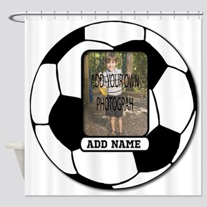 Photo and Name personalized soccer ball Shower Cur
