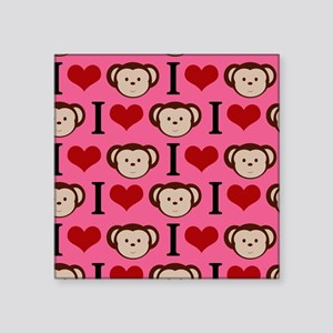 """Adorable Monkeys on Pink Square Sticker 3"""" x 3"""""""