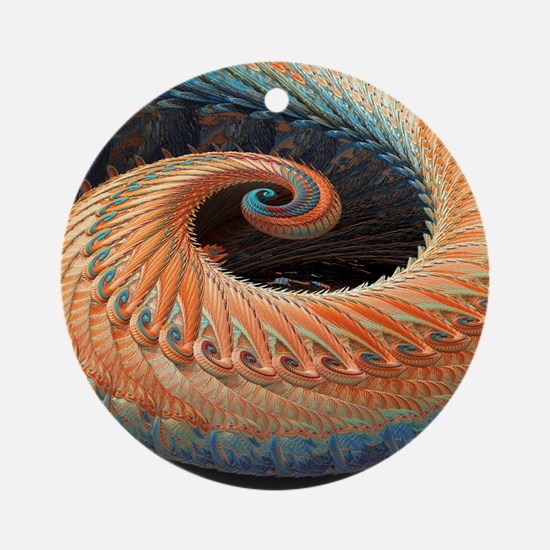 Dragon tail fractal Round Ornament