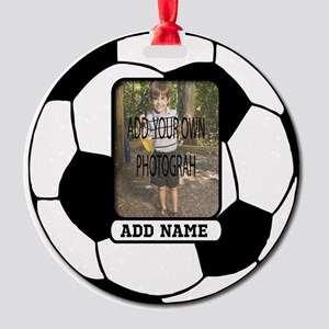 Photo and Name personalized soccer ball Round Orna