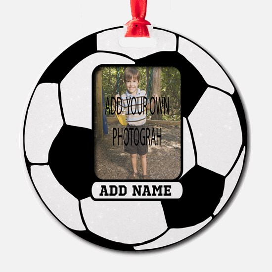 Photo and Name personalized soccer ball Ornament