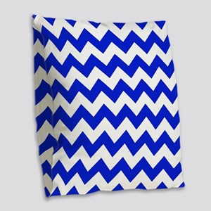 Blue And White Chevron Burlap Throw Pillow