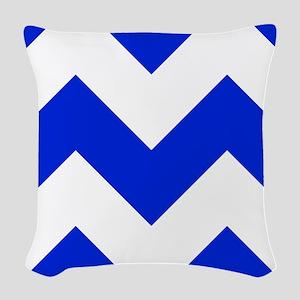 Blue And White Chevron Woven Throw Pillow