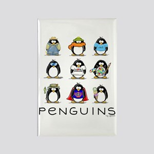 Nine Penguins Rectangle Magnet