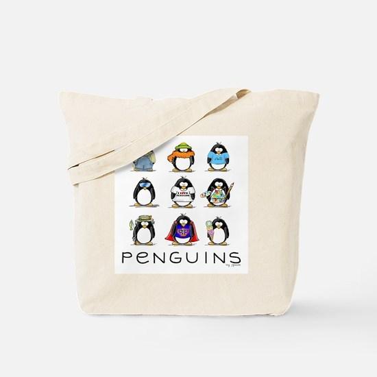 Nine Penguins Tote Bag