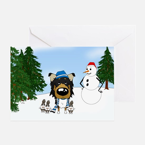 Rough Collie Snow Greeting Card