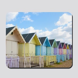 Traditional British Beach Huts On A Brig Mousepad