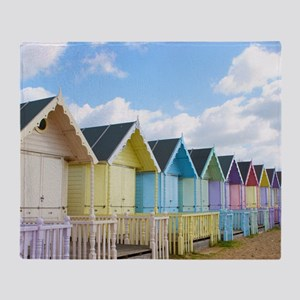 Traditional British Beach Huts On A  Throw Blanket