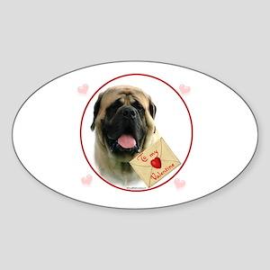 Mastiff Valentine2 Oval Sticker