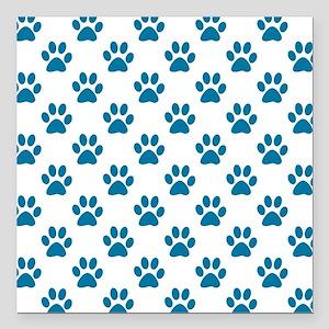 "Blue puppy paw prints Square Car Magnet 3"" x 3"""