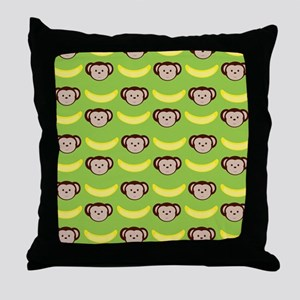 Monkeys and Bananas on Green Throw Pillow
