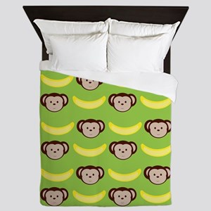 Monkeys and Bananas on Green Queen Duvet