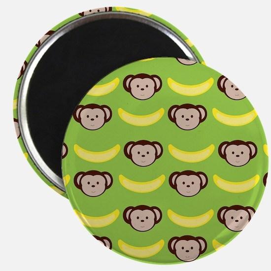 Monkeys and Bananas on Green Magnet