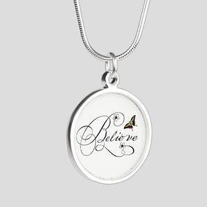 Believe Silver Round Necklace