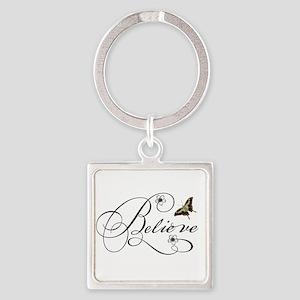 Believe Square Keychain