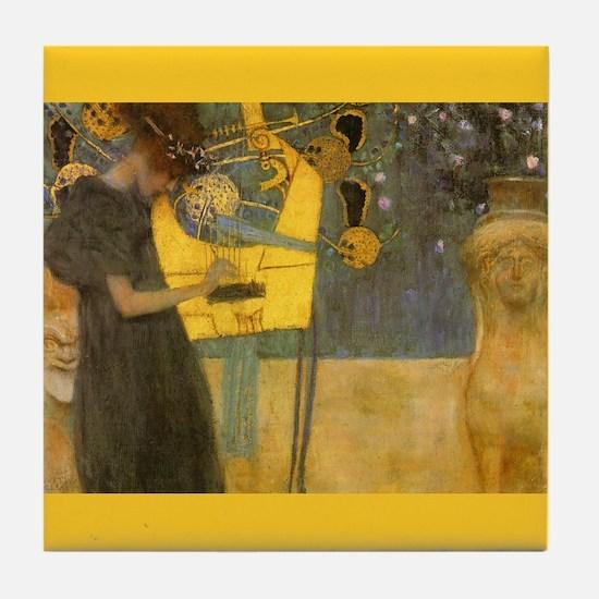 Gustav Klimt Art Tile Coaster - Music