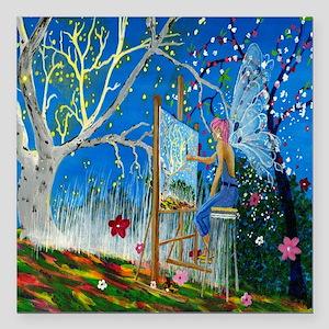 "Fairy Artist Square Car Magnet 3"" x 3"""