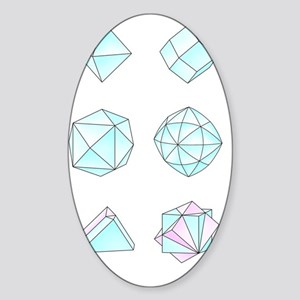 Diamond crystal forms, artwork Sticker (Oval)