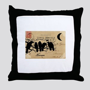 Nevermore Ravens Carte Postale Throw Pillow