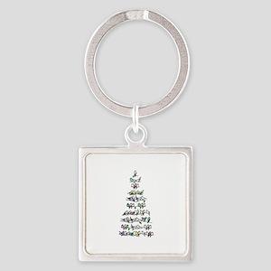 Christmas Bird Tree Square Keychain
