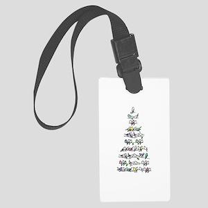 Christmas Bird Tree Large Luggage Tag