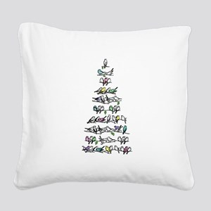 Christmas Bird Tree Square Canvas Pillow