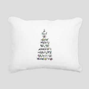 Christmas Bird Tree Rectangular Canvas Pillow