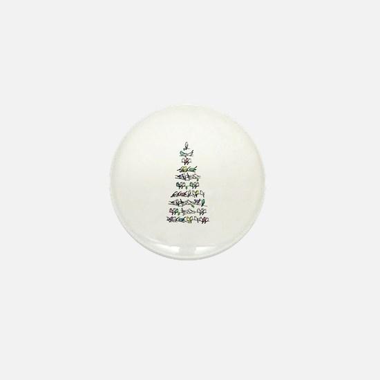 Christmas Bird Tree Mini Button