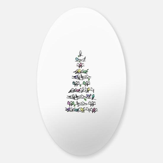 Christmas Bird Tree Sticker (Oval)