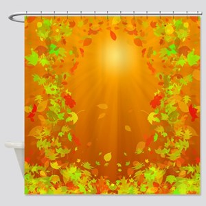 Falling Leaves at Sunset Shower Curtain