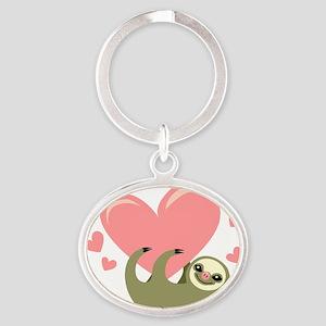 Sloth Oval Keychain