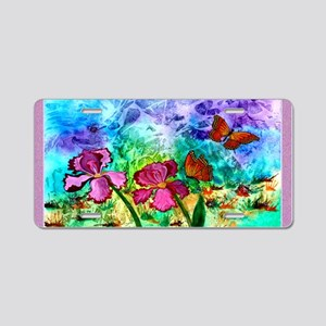 Pink Iris 3x5 Lavender Trim Aluminum License Plate
