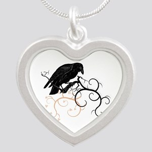 Black Raven Swirl Branches Silver Heart Necklace