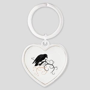 Black Raven Swirl Branches Heart Keychain