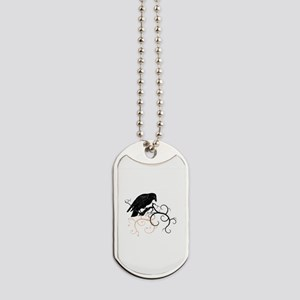 Black Raven Swirl Branches Dog Tags