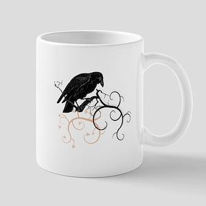 Black Raven Swirl Branches Mug